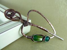 Wire Shawl Pin Copper Hand Forged Fibula Wire Wrapped Jewelry Wire Work Scarf Pin. $24.00, via Etsy.