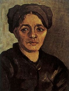 Head of a Peasant Woman with Dark Cap, 1885 Vincent van Gogh