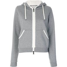 Moncler zipped hoodie (26,105 PHP) ❤ liked on Polyvore featuring tops, hoodies, grey, hooded sweatshirt, zip front hoodie, grey hoodie, hooded zip sweatshirt and zipper hoodies