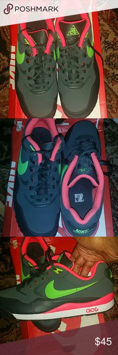 Nike acg sneakers size 6.5y=8w Pre owned but in excellent conditon nike acg sneakers they are called wildwood and we're a limited edition release. The color is vintage green with lime green and coral pink. These only been worned three times. There are no scuffs or scratches and price is firm no trades please. Nike Shoes Sneakers