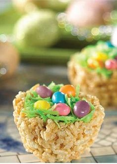 "This cute Rice Krispies snack is so much fun to make with your kids in the springtime. They can help shape the nests and top them with their favorite jellybean ""eggs."""