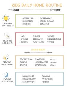 At Home Flexible Daily Schedule for Kids - Super Healthy Kids