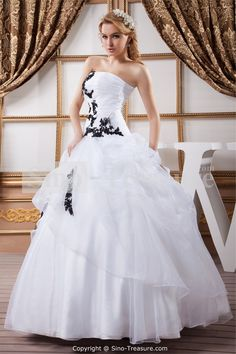Elegant Black Gowns | Unique White And Black Embroider Ball Gown ...