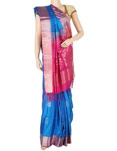 G3 exclusive blue silk saree. Product Code: G3-WSA5870 Price: ₹ 12,780.00