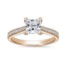 Gabriel & Co. Voted #1 Most Preferred Bridal Brand- 14k Rose Gold Princess Cut Straight Diamond Engagement Ring