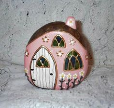 River Rock Fairy Houses (Front, Pink #6) | par Sweet2Spicy