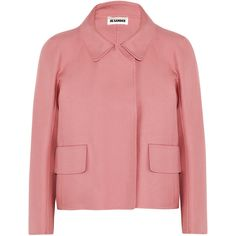 Jil Sander Cotton-gabardine jacket (€305) ❤ liked on Polyvore featuring outerwear, jackets, coats, pink, red jacket, jil sander, gabardine jacket, red cotton jacket and jil sander jacket
