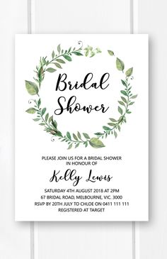 Greenery bridal shower invitation printable, garden bridal shower ideas, wreath bridal shower invite from Pink Summer Designs on Etsy