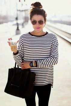 this for a simple outfit, striped top, black jeans and a black bag, accessorised with a black watch, black aviators and some gold jewellery