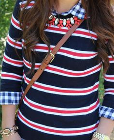 I like the pattern mix on the sweater and shirt minus the necklace.