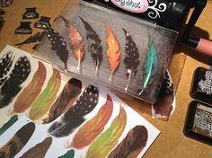 "Bird feathers printable collage sheet matching Sizzix Tim Holtz die ""Writing Desk"" $1.90"