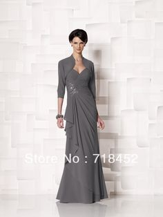 Grey Chiffon Mother of the Bride Pant Suit Dress Luxury Beaded  with Jacket Long Free Shipping MD640 US $136.95