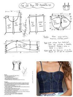 DIY - molde, corte e costura - Marlene Mukai Corset Sewing Pattern, Bra Pattern, Fashion Sewing, Diy Fashion, Sewing Clothes, Diy Clothes, Clothing Patterns, Sewing Patterns, Costura Fashion