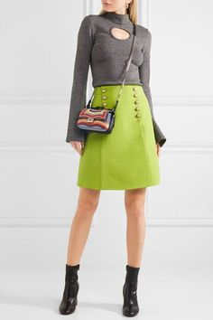 Lime-green wool-crepe Concealed hook and zip fastening at side 51% wool, 49% silk; lining: 71% acetate, 29% silk Dry clean Designer color: Acid Green Made in Italy