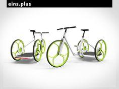 """""""Eins.Plus Tricycle-Sharing-System"""" : Design Peter Kutz - Lastenfahrrad oder ein Mitfahrer ::: Cargo bike or a passenger?"""