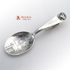 Mother Hubbard The Cow Jumped Over the Moon Baby Spoon Watson Sterling Silver