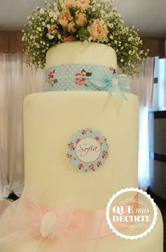 Shabby chic 1st birthday party cake! See more party planning ideas at CatchMyParty.com!