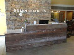 reclaimed wood reception desk - Google Search