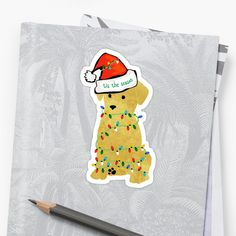 Cute Golden Retriever Puppy wearing Santa hat, wrapped in christmas lights. Christmas Lights, Christmas Decor, Retriever Puppy, Sell Your Art, Sticker Design, Finding Yourself, Puppies, Stickers, Santa Hat