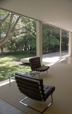 Tugendhat Chair and Barcelona Table by Mies van Der Rohe :: 1929 at Villa Tugendhat