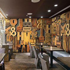 Vintage wood alphabet wall paper photo wallpaper roll papel de parede 3D mural wallpaper for walls 3d papel pintado papier peint