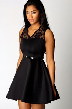 Nadine Scallop Lace Belted Skater Dress at boohoo.com