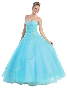 Quinceanera Strapless Tulle Prom Long Ball Gown Dress