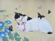 おちょぴ | 朝顔と猫 | thisisgallery | 好きなアーティストが見つかるアート購入・販売サイト