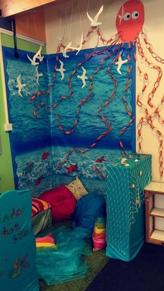 Under the sea book corner acb unit reading corner classroom, Classroom Decor Themes, Classroom Displays, Ocean Themed Classroom, Classroom Ideas, Reading Corner Classroom, Book Area, Kindergarten, Preschool Rooms, Underwater Theme