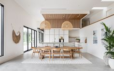 Contemporary Kitchen Design, Design Your Kitchen, Interior Design Kitchen, Modern Contemporary, Palm Springs Interior Design, Küchen Design, House Design, Bali Style Home, Timber Dining Table