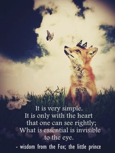 It is very simple. It is only with the heart that one can see rightly; What is essential is invisible to the eye. - wisdom from the Fox; the little prince