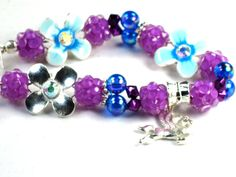 Toddler/Girls Blue and Purple Flower and Shamballa Beads with  Swarovski Crystals and a PEGASUS by Chris of ChildWithStyle, $15.00