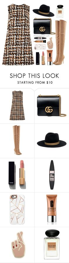 """""""Dolce and GABBANA"""" by thestyleartisan ❤ liked on Polyvore featuring Dolce&Gabbana, Gucci, Balmain, Janessa Leone, Chanel, Maybelline, Casetify, Clinique, Georgia Perry and Giorgio Armani"""