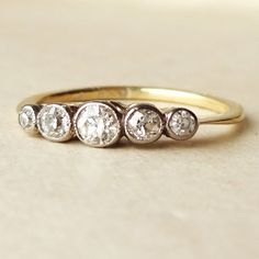 Art Deco Five Diamond Eternity Ring, 18k Gold 29 point Diamond Engagement Ring Approx. Size US 4.5 / 4.75