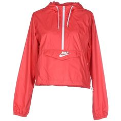 Nike Jacket ($93) ❤ liked on Polyvore featuring jackets, outerwear, tops, coral and nike
