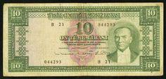 1930L Turkey Central Bank Series B21 Ten Liras Kamal Ataturk Pick Number 156 Nice Very Fine Banknote