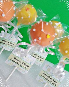 wedding cake pop with escort card