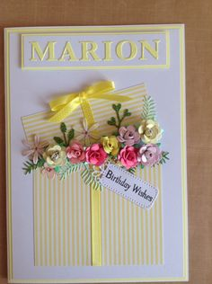 Flowers in a box birthday card