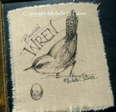 Original Pen Ink Art Illustration on Fabric Wren Bird Songbird Michelle Palmer Ink Illustrations, Illustration Art, Bird Doodle, Ink Pen Art, Sketch Journal, Quilt Labels, Prayer Flags, Quilt Art, Sketch Inspiration