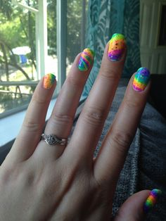It looks like a unicorn shat on my nails. Lisa Frankly my dear, I ...