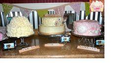 Vintage fun wedding set up! Butter lemon zest cake, carrot cake, and chocolate bavarian cream and strawberry cake