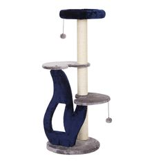 Tuggy - Blue and Grey Three Level Cat Tree with Sisal Mat