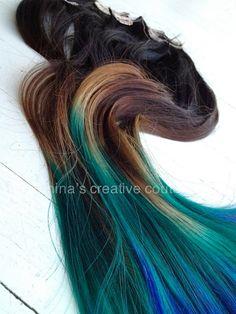 """Peacock Ombre, Black Hair Extensions mit schnell verblassen, Braun, grün und blau, 7-teilig, 22 """" by NinasCreativeCouture on Etsy"""