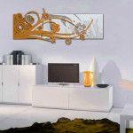 Quadri Astratti | panna applicazione arancio laccato   SI-106 | 148x60 cm