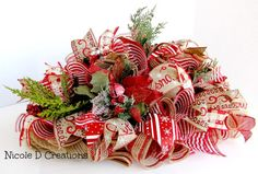 Christmas Centerpiece Red and Burlap Holidays by NicoleDCreations