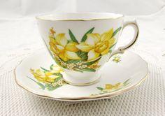 Royal Vale Yellow Daffodil Tea Cup and Saucer, Vintage Bone China