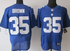 Nike New York Giants #35 Andre Brown Blue Elite Jersey
