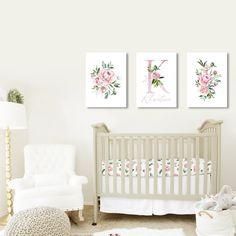 Nursery Name Decor, Nursery Monogram, Nursery Canvas, Baby Girl Nursery Decor, Floral Nursery, Wall Decor, Nursery Art, Elephant Nursery, Baby Room