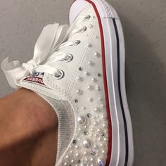White Pearl Converse - outsides only / Wedding converse / Bridal chucks / Bridal converse / Crystal shoes/ bridesmaid converse / pretty con Converse Navy, Converse Wedges, Bling Converse, Bling Shoes, Rhinestone Converse, Converse Wedding Shoes, Wedding Sneakers, Prom Shoes, Girls Shoes
