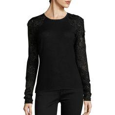 Elie Tahari Elm Applique Merino Wool Sweater ($119) ❤ liked on Polyvore featuring tops, sweaters, merino wool tops, floral sweater, elie tahari sweaters, long sweaters and elie tahari